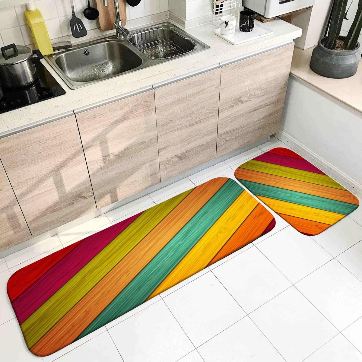 2pcs kitchen floor carpets non slip