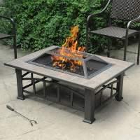 Axxonn Rectangular Tile Top Fire Pit, Brownish Bronze ...