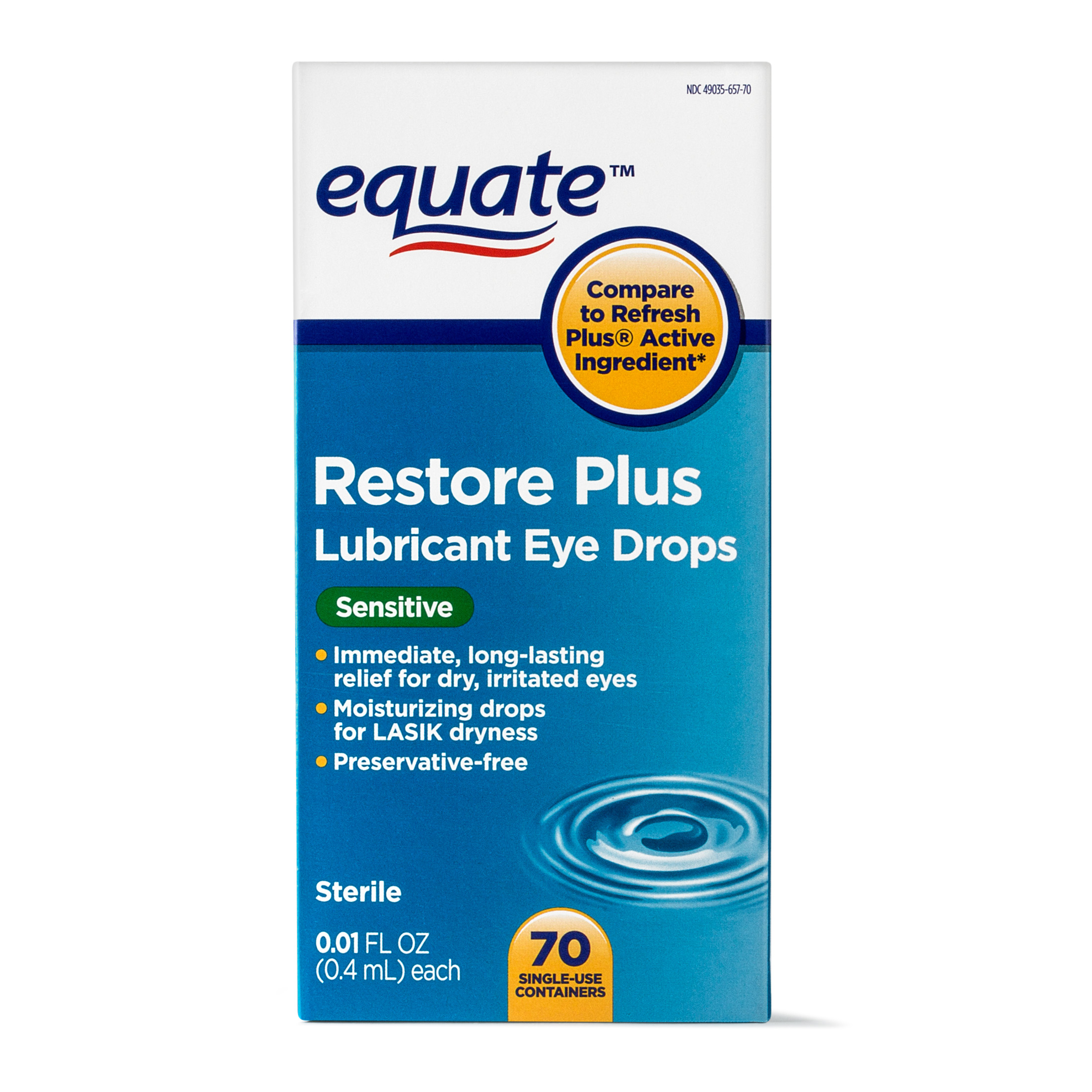 Equate Sensitive Restore Plus Lubricant Eye Drops ...