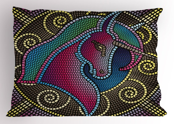 Fantasy Pillow Sham Fractal Unicorn Figure With Mosaic Art Tile Effects Girlish Creature Display