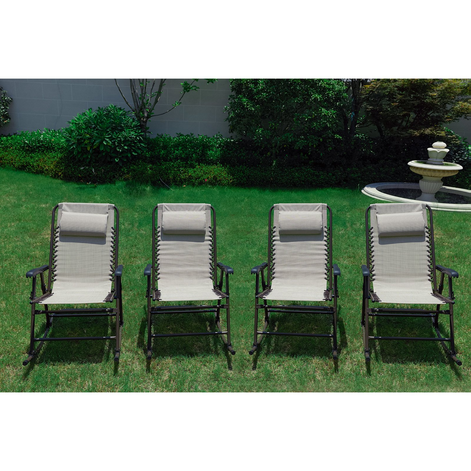 Outdoor Rocking Chair Set Every Season Folding Steel Outdoor Rocking Chair Set Of 4