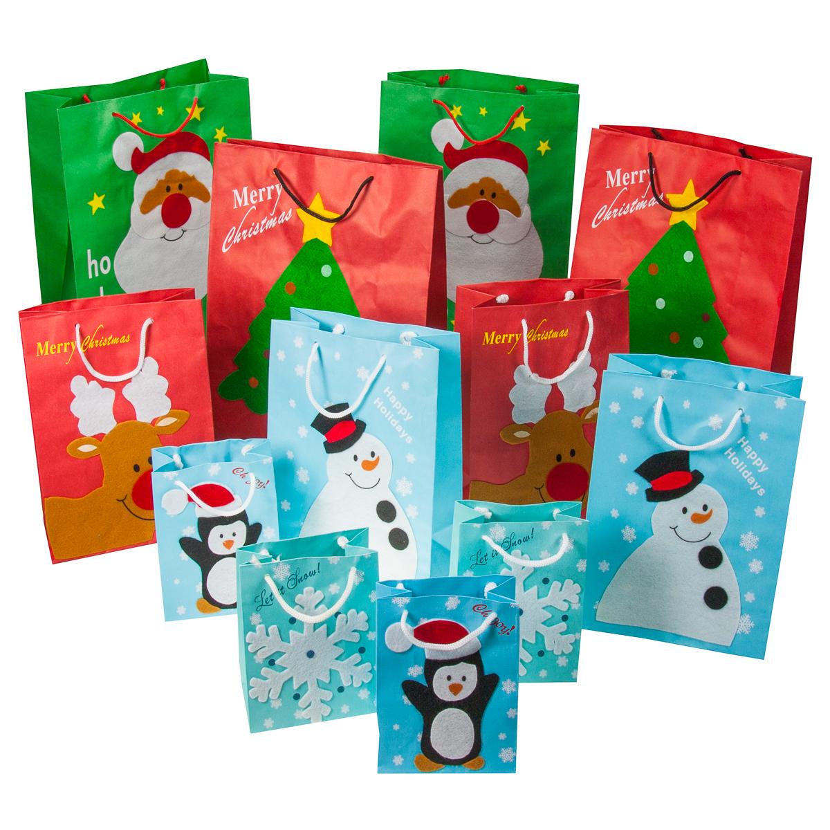 12pc Set Christmas Gift Bags Festive Felt Small Santa