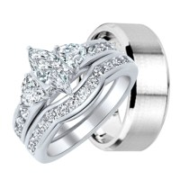 His and Hers Wedding Ring Set Matching Wedding Bands for ...
