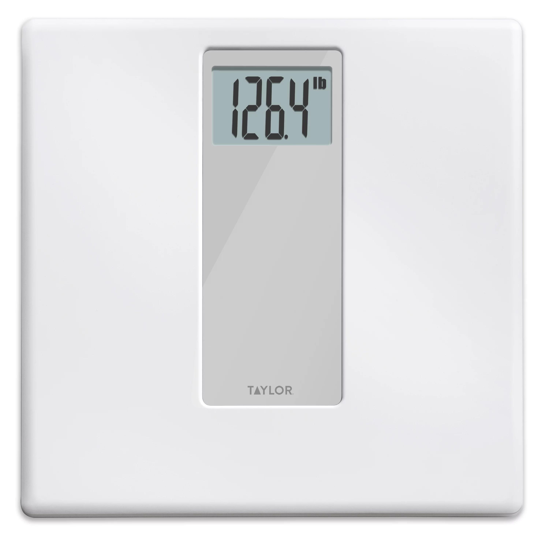 Taylor Digital 400 Lb Capacity White Gray Bathroom Scale Walmart Com Walmart Com