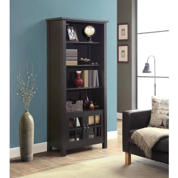 "Whalen 72"" Audio Video Tower Bookcase With Doors Espresso"