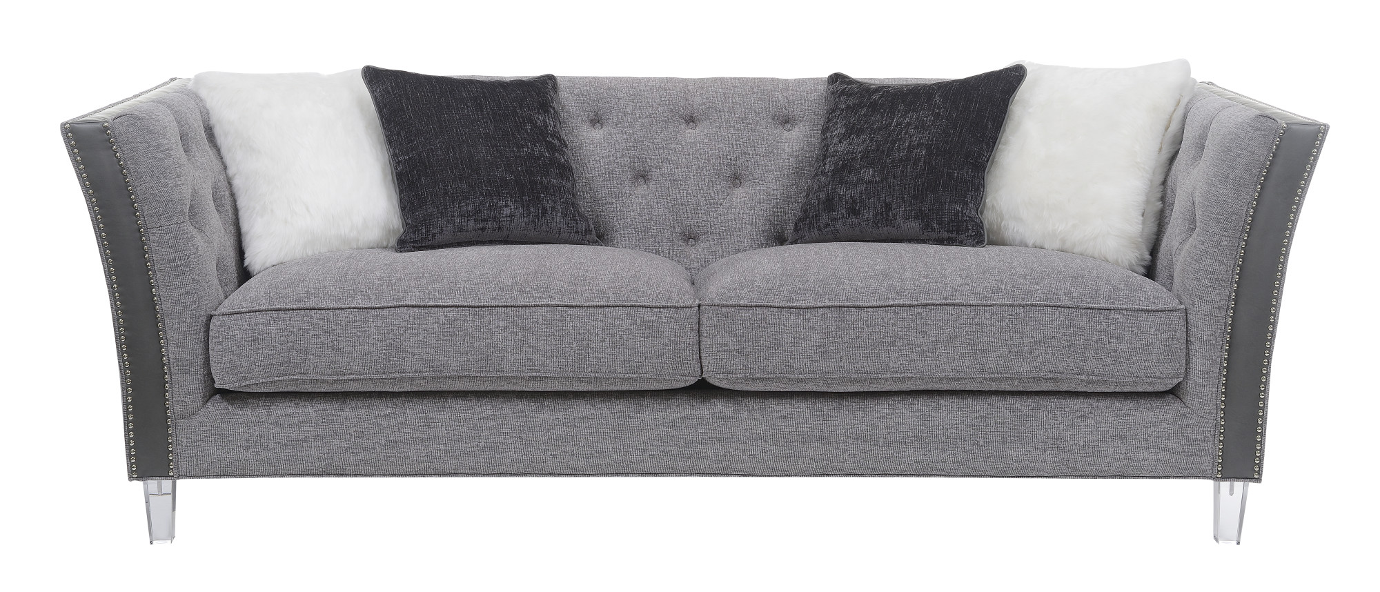 grey sofa with silver nailheads england sleeper 309 emerald home patricia gray 91 75 quot tufted