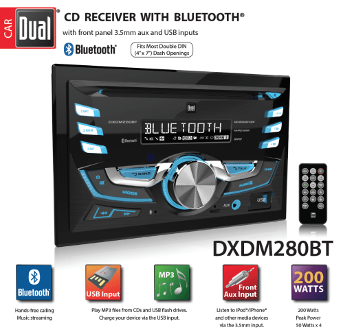 small resolution of  dual electronics dxdm280bt multimedia lcd high resolution double din car stereo receiver with built in bluetooth cd usb mp3 wma player walmart com
