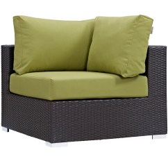 Corner Lounge Chair Fold Out Bed Uk Modern Contemporary Urban Design Outdoor Patio Balcony Green Rattan