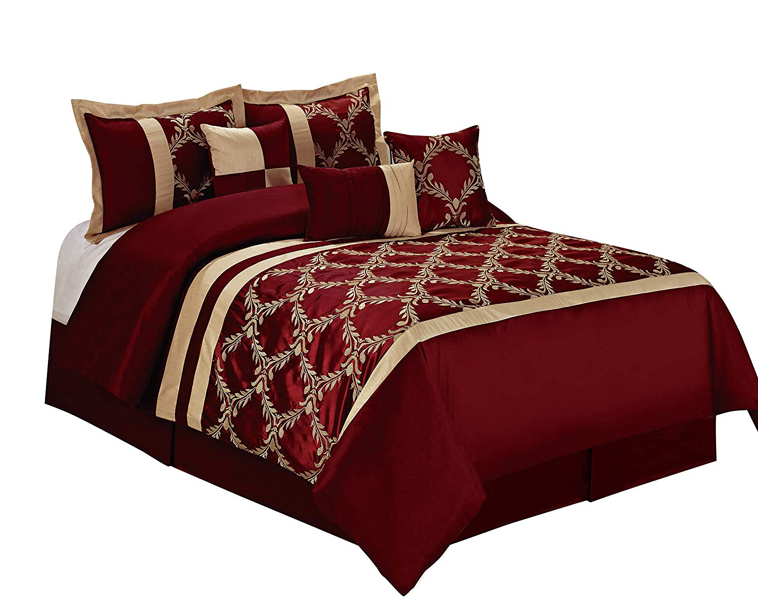 hig 7 piece comforter set king burgundy and gold taffeta fabric embroideried claremont bed in a bag king size smooth and good gloss 1 comforter 2