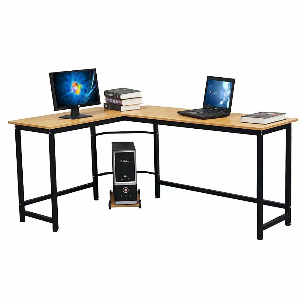 Clearance LShaped Desktop Computer Desk Beech Wood Color
