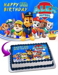 Paw Patrol Edible Cake Image Topper Personalized Icing