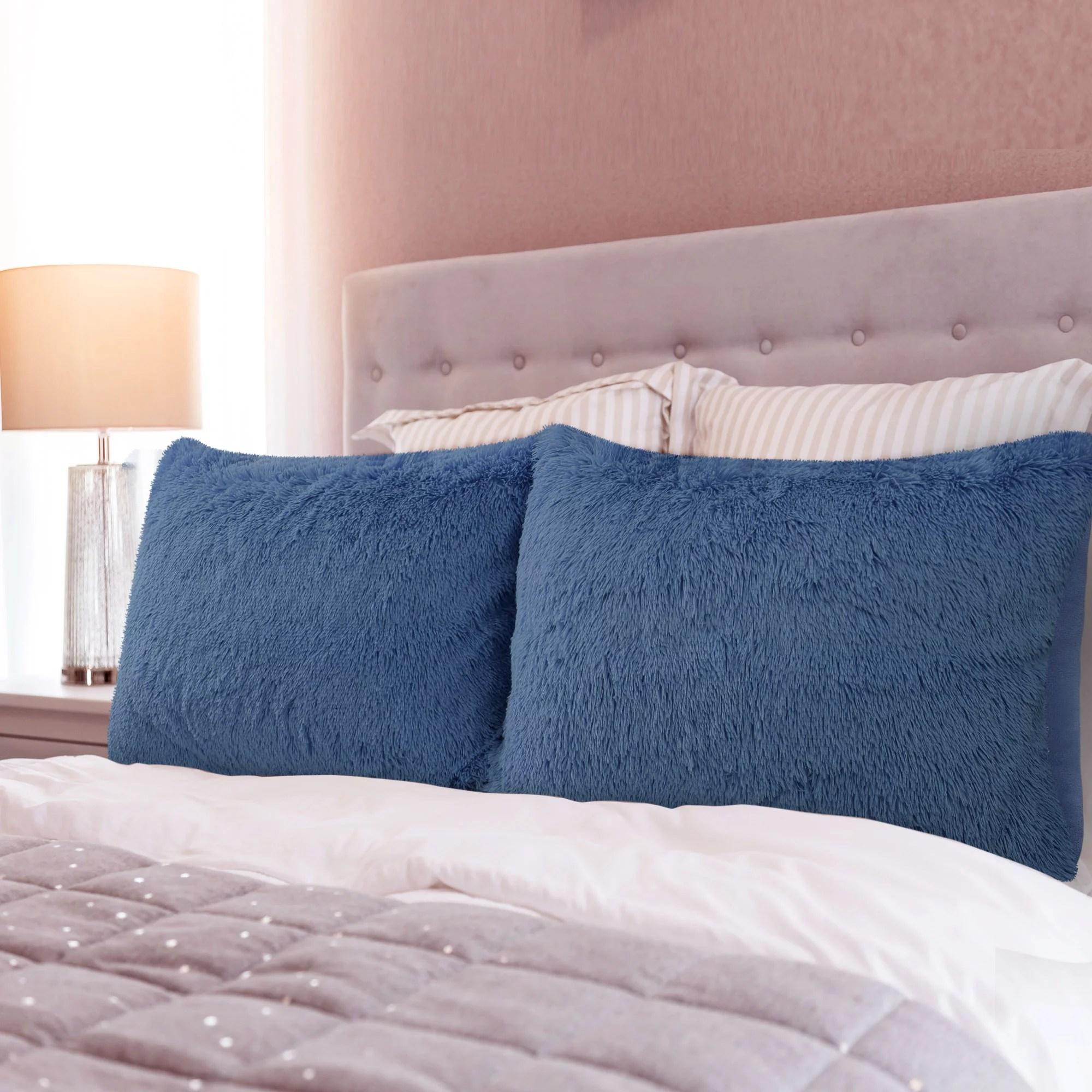 piccocasa 2pcs soft faux fur velvet pillow cases with zipper black queen 20x30 inch