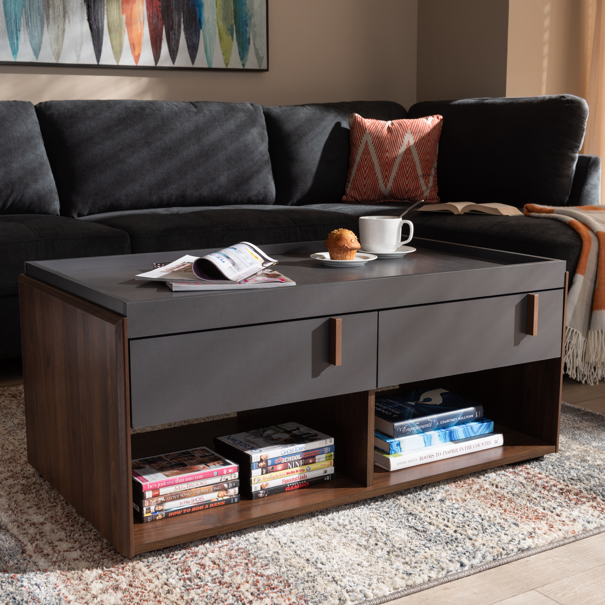 baxton studio rikke modern and contemporary two tone gray and walnut finished wood 2 drawer coffee table walmart com
