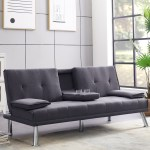 Leather Couches And Sofas Modern Sofa Bed With Metal Leg 2 Cup Holders Convertible Futon Sofa Bed Recliner Couch Durable Futon Couches And Sofa Beds For Apartment Living Room Dark Gray R1593