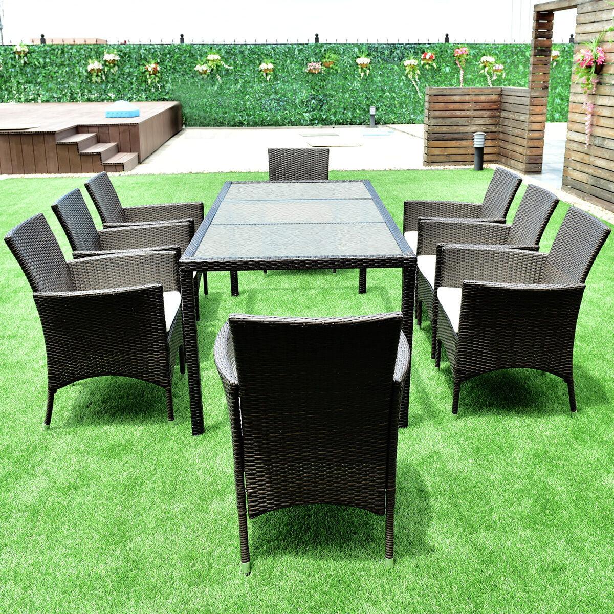 gymax 9pcs patio furniture set