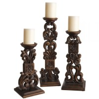 Carved Wooden Scroll Pillar Candle Holder (Set Of 3 ...