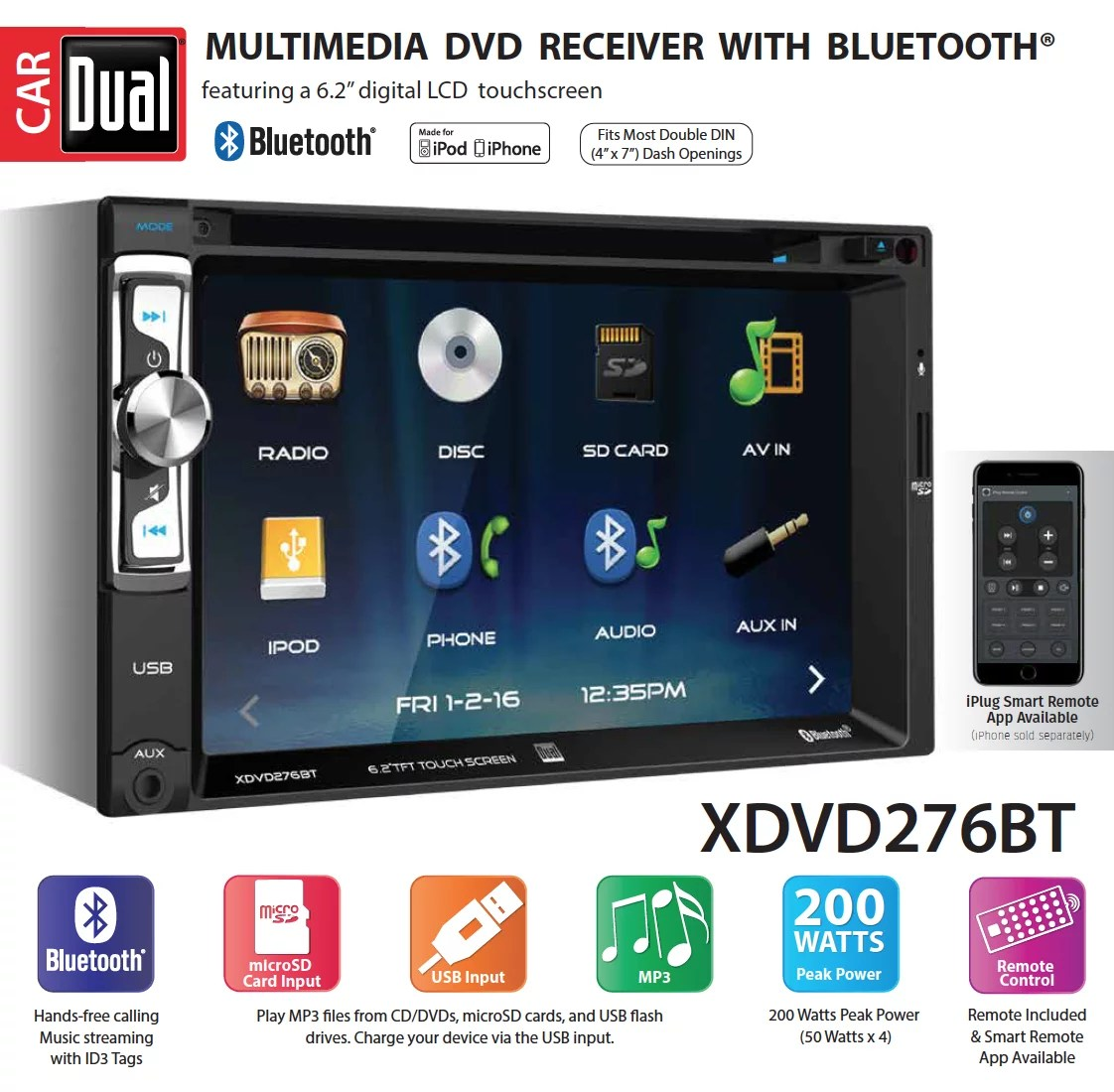 hight resolution of dual electronics xdvd276bt 6 2 inch led backlit lcd multimedia touch screen double din car stereo with