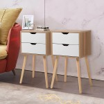 Jaxpety Set Of 2 Mid Century Modern Nightstand Bedside Table Sofa End Table Bedroom Decor 2 Drawers Storage With Solid Wood Legs White Walmart Com Walmart Com