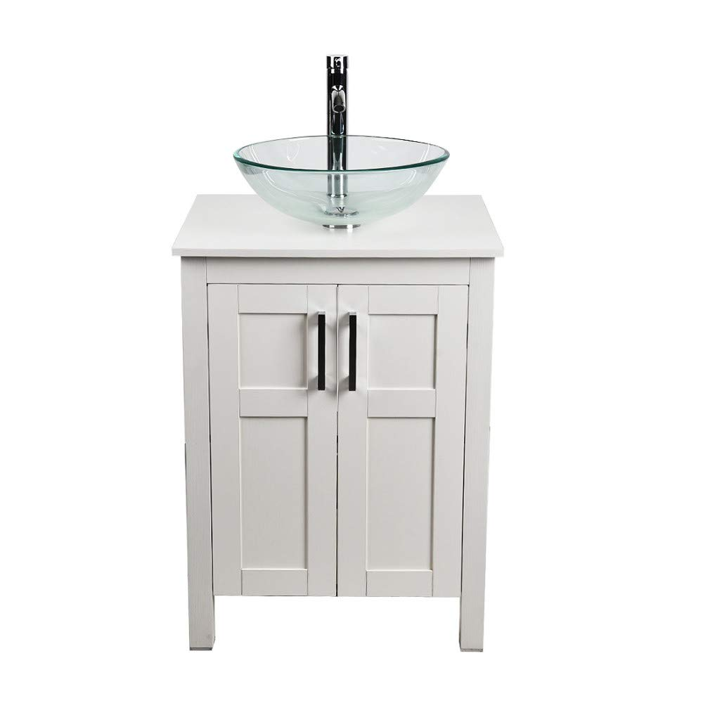 24 inch bathroom vanity and sink combo white modern mdf board countertop vessel sink with water saving 1 5 gpm faucet and pop up darin bathroom