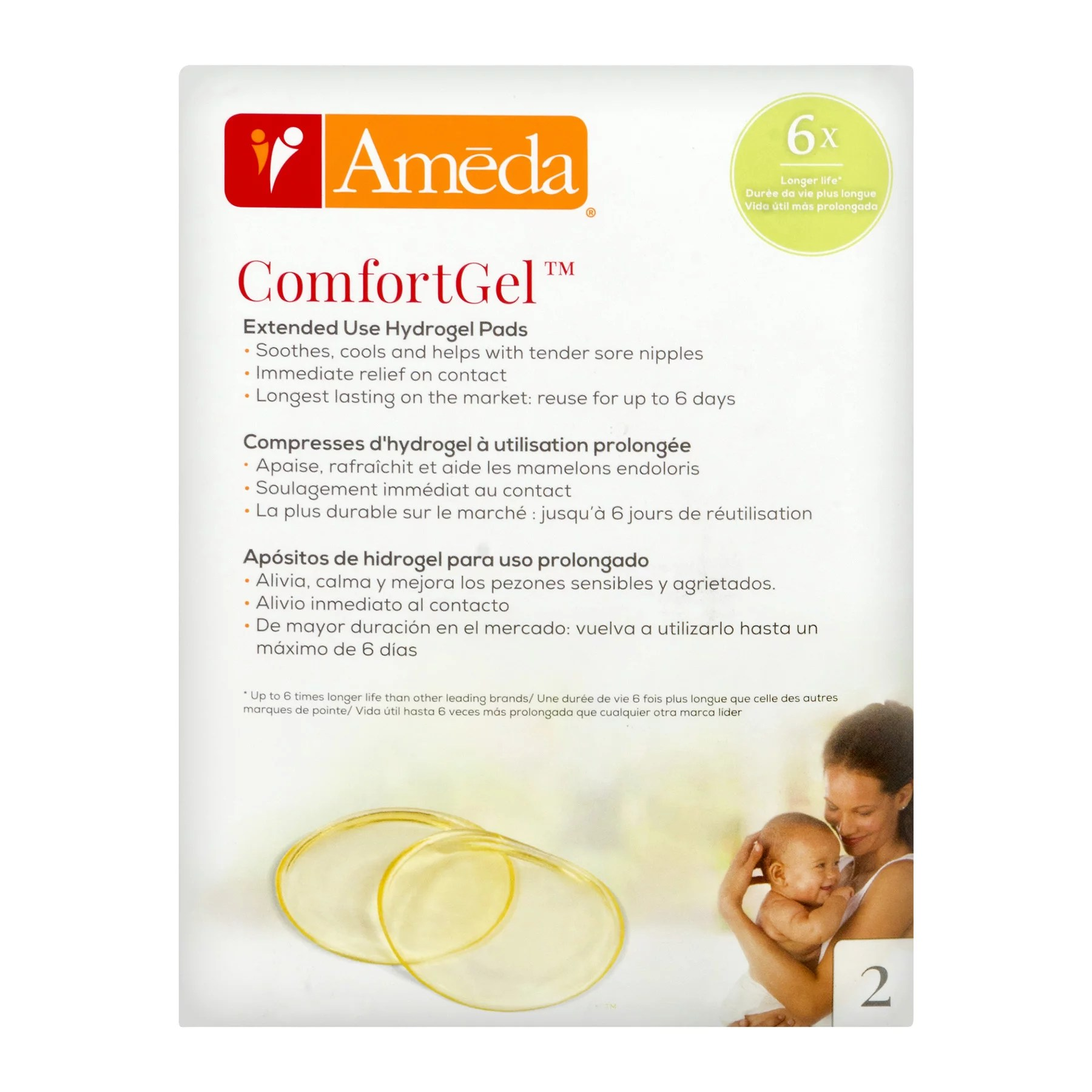 ameda comfortgel extended use hydrogel pads 2 pk 2 0 pack