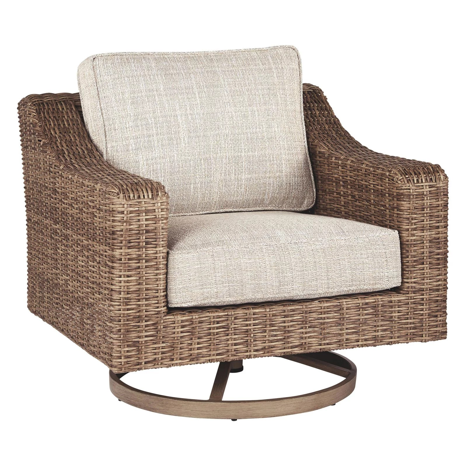 signature design by ashley beachcroft wicker swivel patio lounge chair with cushion