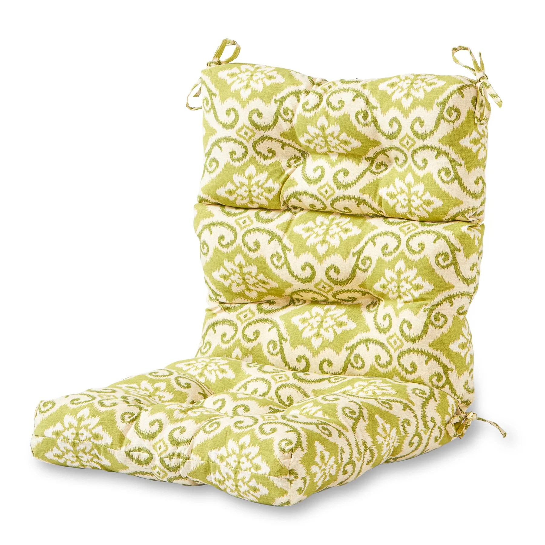 high back lawn chair cushions used office chairs greendale home fashions green ikat outdoor cushion walmart com