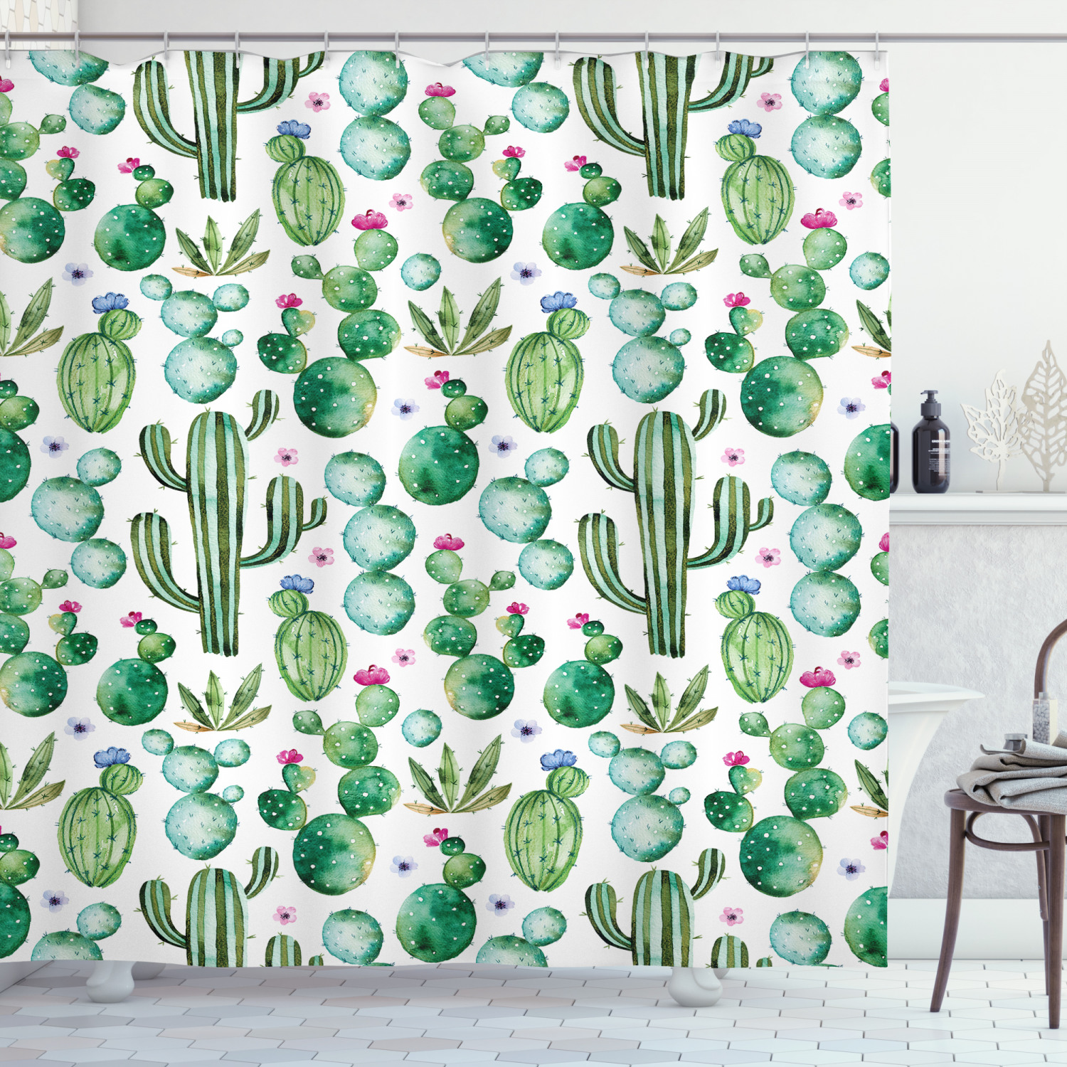 green shower curtain mexican texas cactus plants spikes cartoon like artistic print fabric bathroom set with hooks white pale pink and lime green
