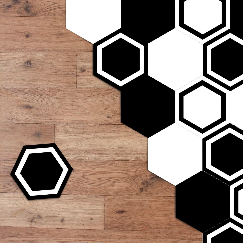walplus minimalist black and white hexagon floor tiles stickers home decorations diy art decals stickers mural