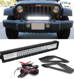 ijdmtoy 21 flood spot beam triple row high power led light bar w front grille mounting brackets relay wire switch for 2007 2017 jeep wrangler jk  [ 1500 x 1500 Pixel ]