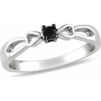 Black Diamond Accent Sterling Silver Bow Design Promise ...