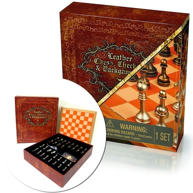 Cardinal Deluxe 3 Game Set Leather Chess Checkers