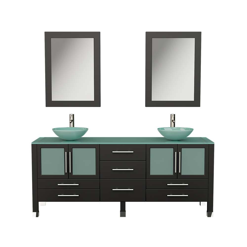 lafayette 71 modern double vanity set brushed nickel faucets