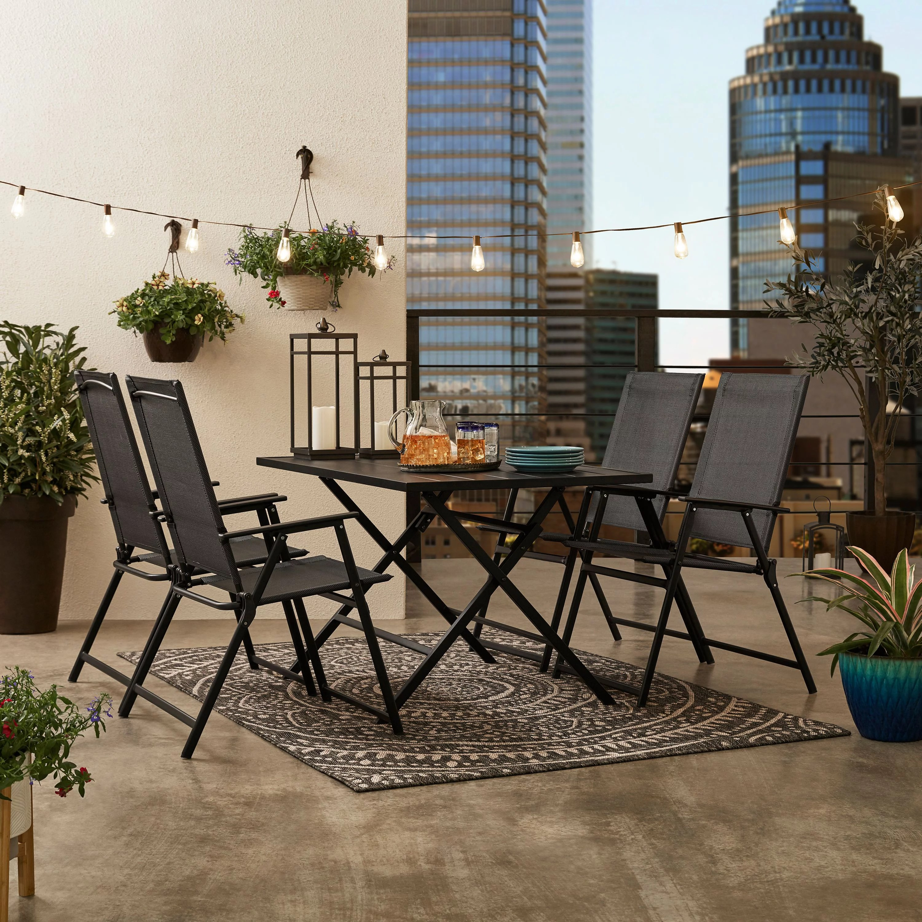 mainstays greyson square patio 5 piece folding dining set included 4 chairs and 1 table black walmart com