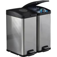 30L Kitchen Recycle Trash Bin Stainless Steel Can ...