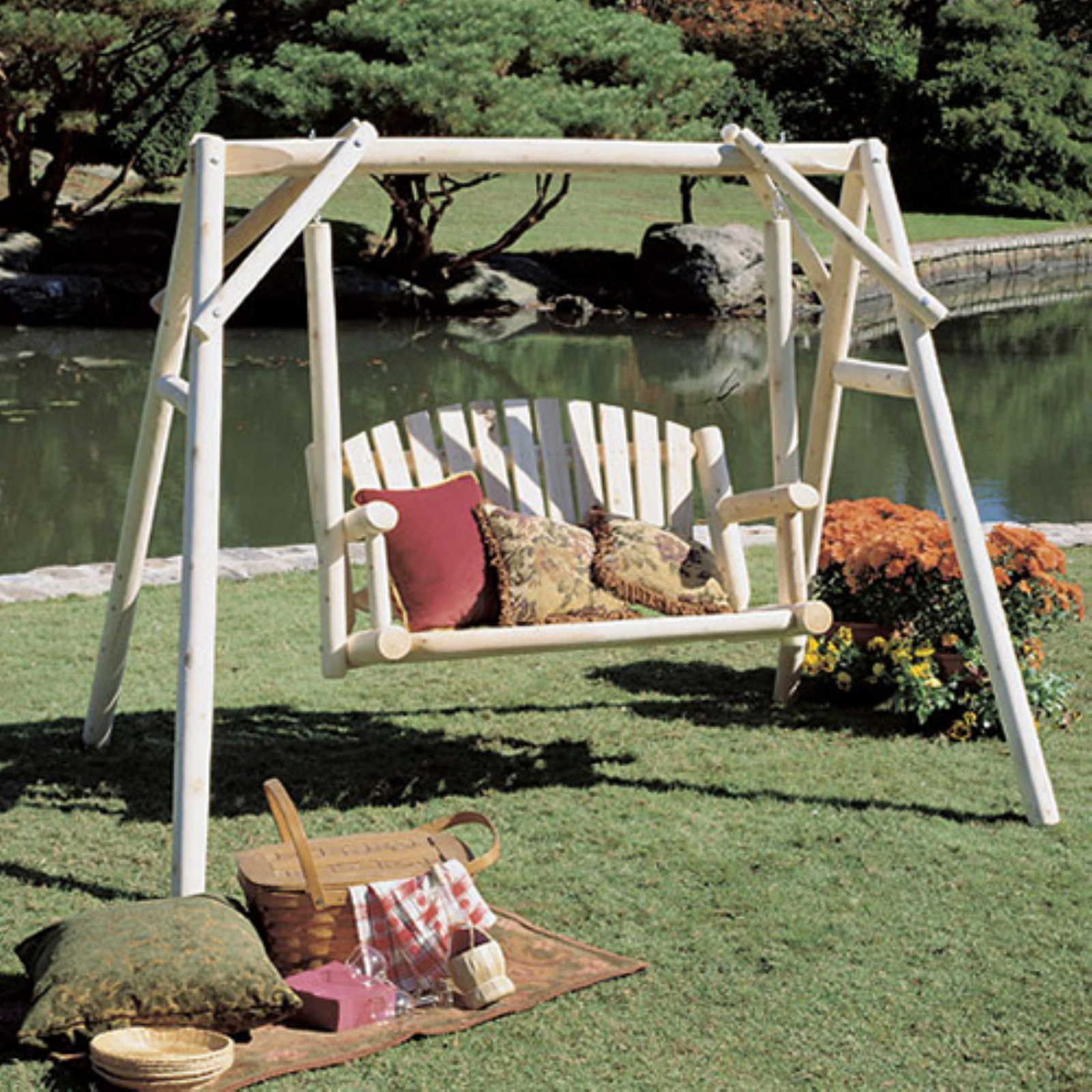 rustic natural cedar furniture american garden 5 ft log porch swing and stand set