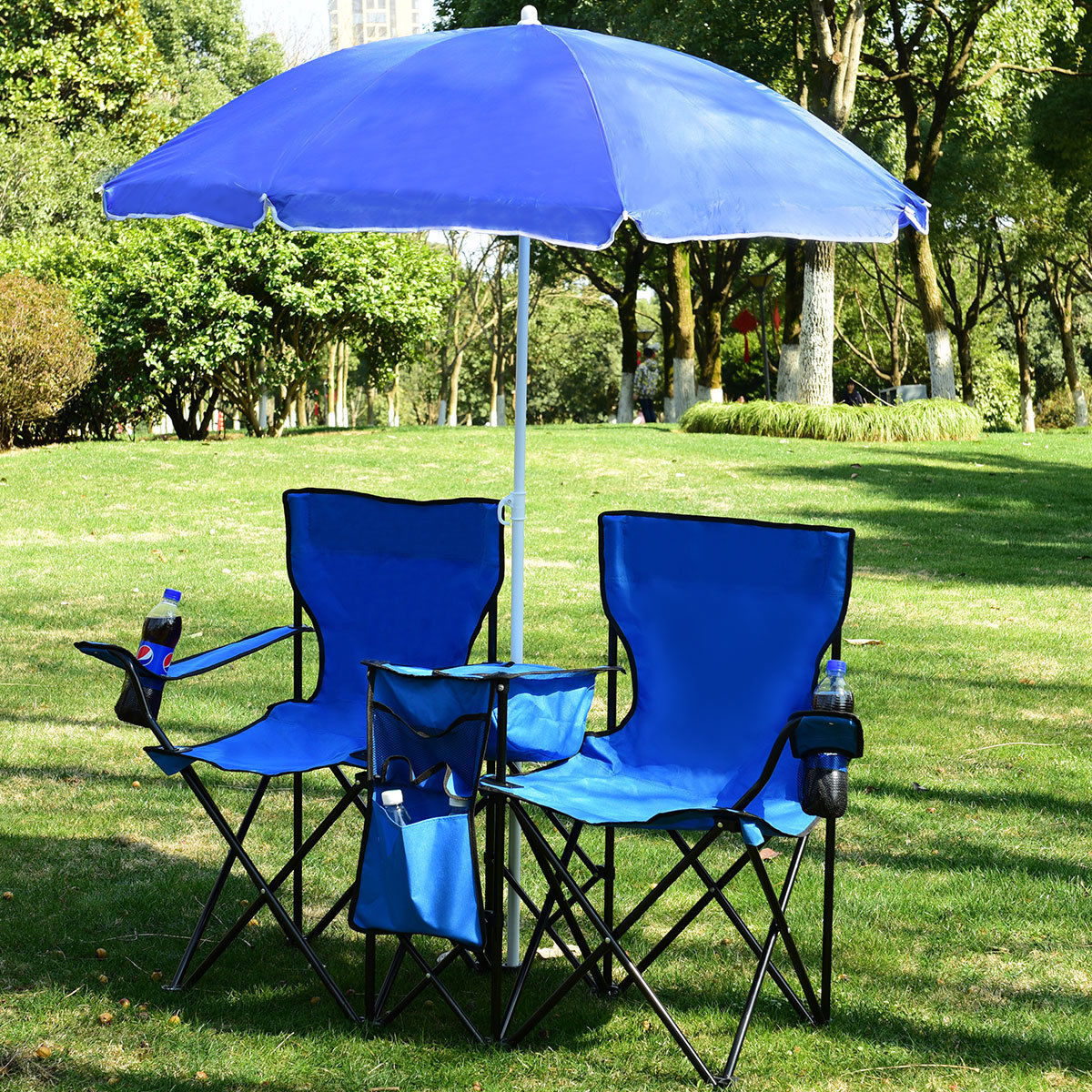 umbrella chair walmart oxo tot seedling high cushion costway portable folding picnic double w table cooler beach camping com