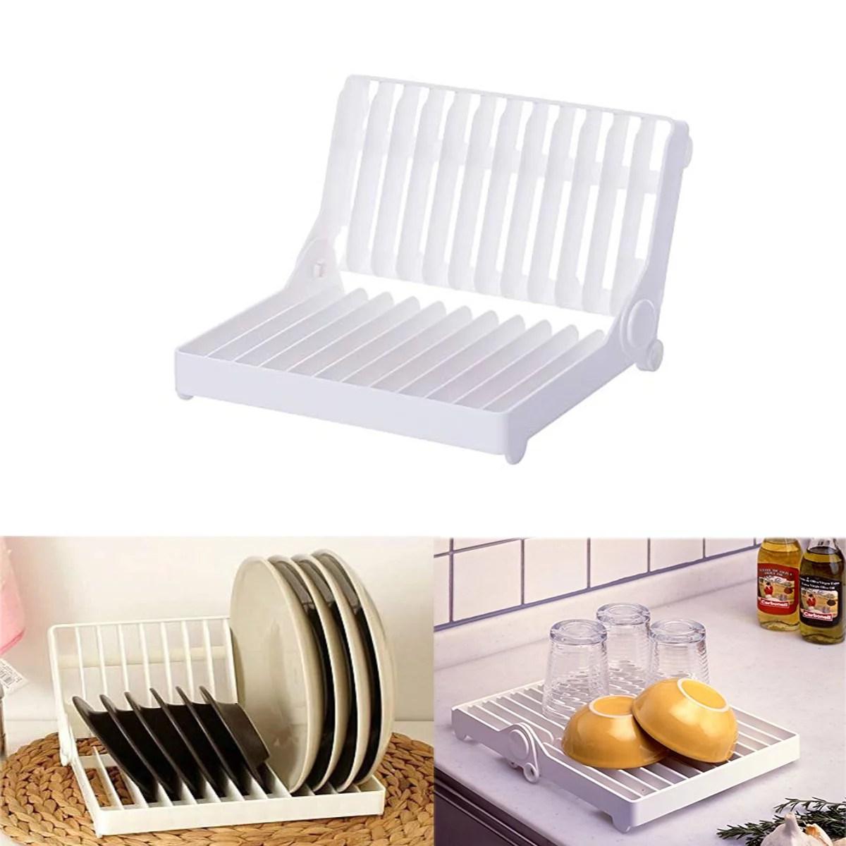 gohope store foldable dish rack stand holder bowl plate organizer tray tableware storage kitchen drying rack dish drainer drip shelf tools white
