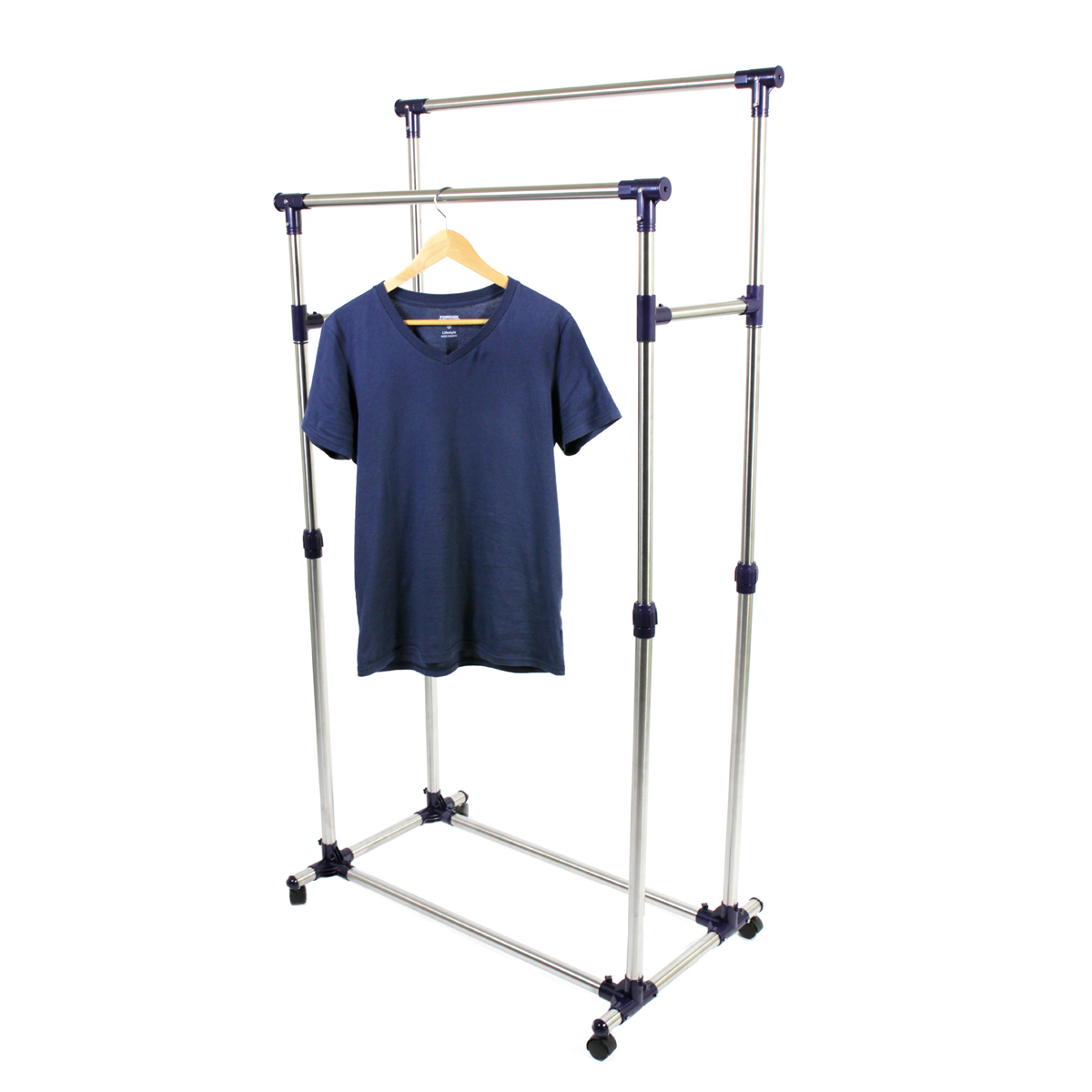prosourcefit premium heavy duty double rail adjustable telescopic rolling clothing and garment rack