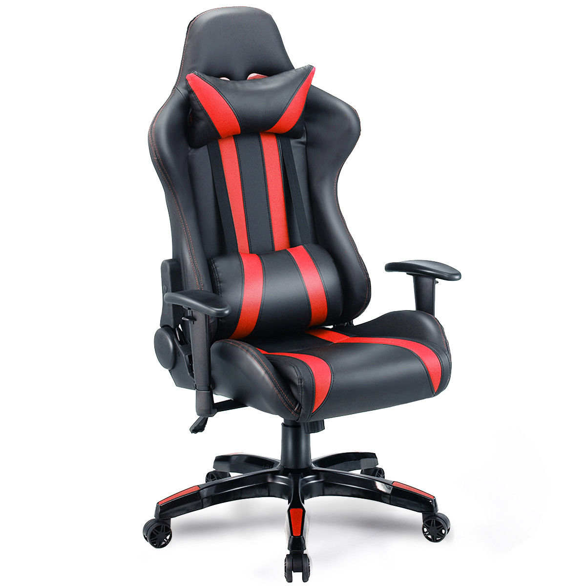 computer chairs for gaming 500 lb office chair costway executive racing style high back reclining black red