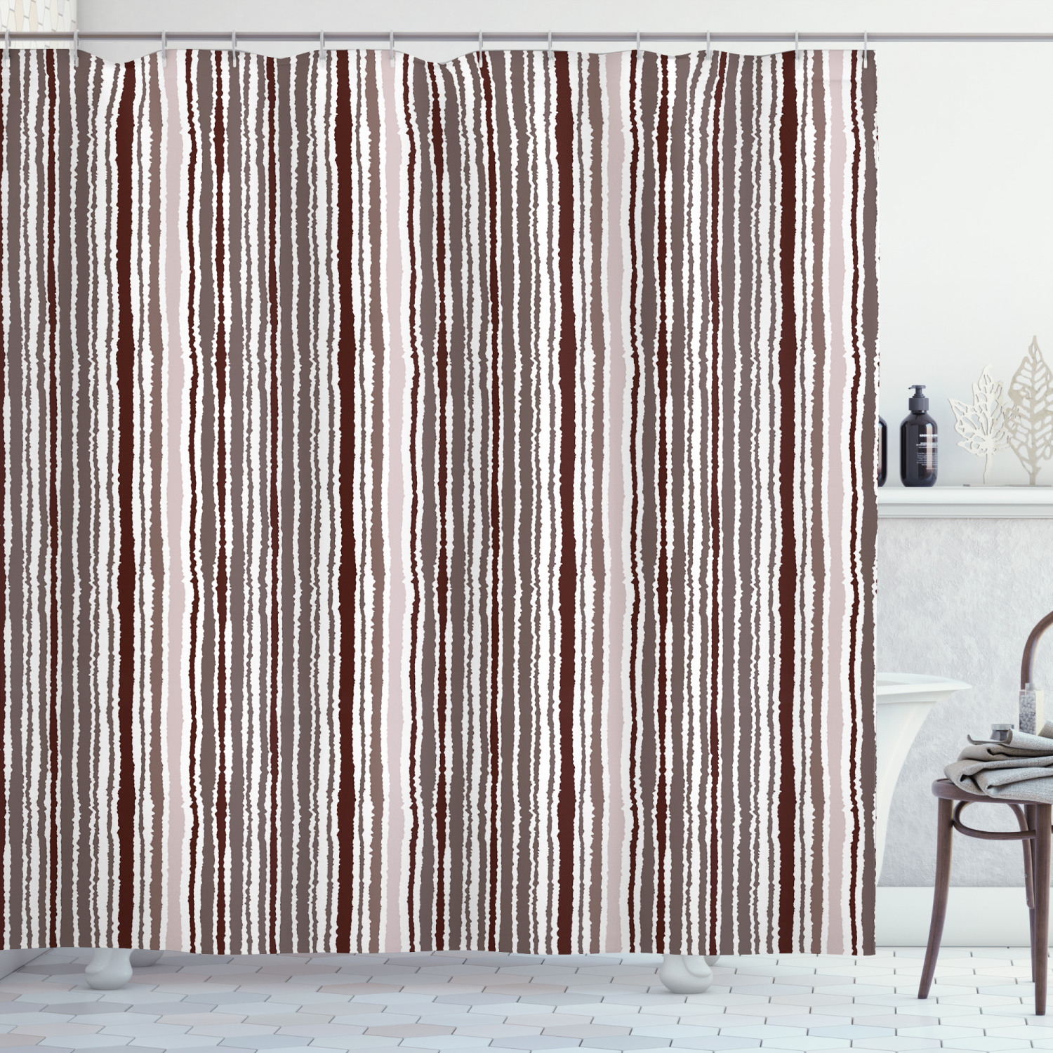 geometric shower curtain vertical lines torn paper style shred edge striped pattern fabric bathroom set with hooks 69w x 84l inches extra long