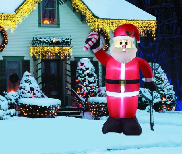 Ft Inflatable Santa With Candy Cane Indoor Outdoor Christmas Decorations
