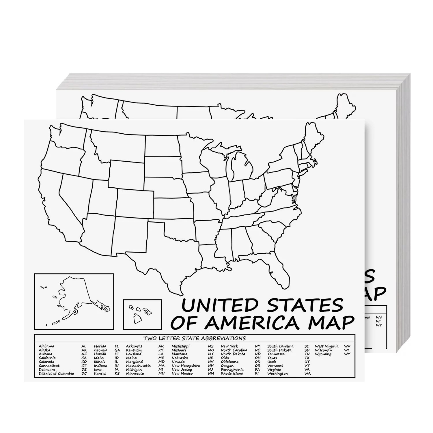 This blank map of the 50 us states is a great resource for teaching, both for use in the classroom and for homework. United States Map Usa Poster Us Educational Map With 2 Letter State Abbreviation For All Ages Kids To Adults Home School Office Printed On 110lb Cardstock 8 5 X 11 Inches 10 Per Pack Walmart Com