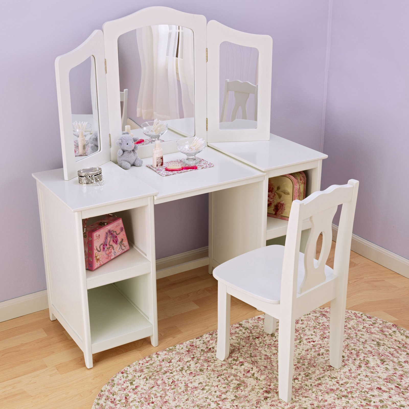 kidkraft white table and chairs leather parsons chair deluxe vanity walmart com