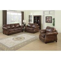 Sterling Cognac Brown Italian Leather Sofa, Loveseat and ...