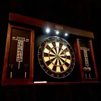 dart board cabinet with lights  Roselawnlutheran