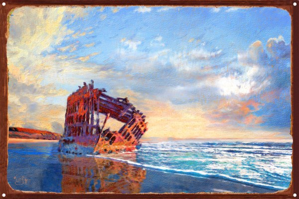"""wreck Of Peter Iredale"" Astoria Oregon Rustic Metal Art Print Lisa Sofia Robinson 12"