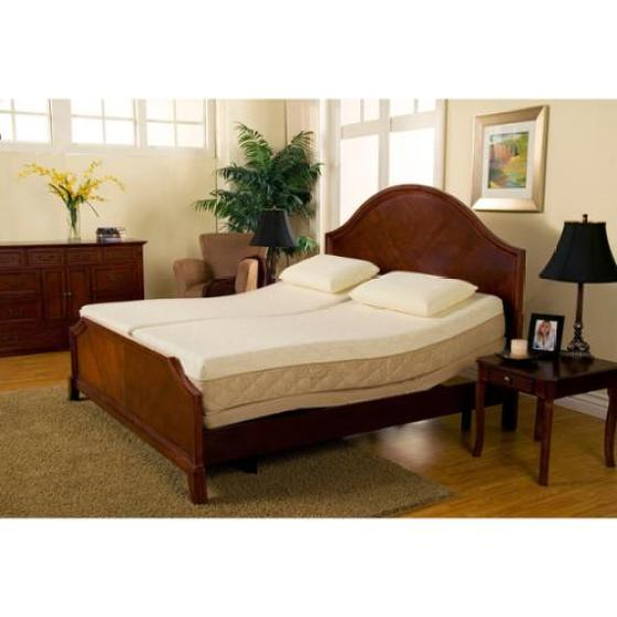Sleep Zone Supreme Adjule Bed And 10 Inch Hybrid Split King Size Mattress Set