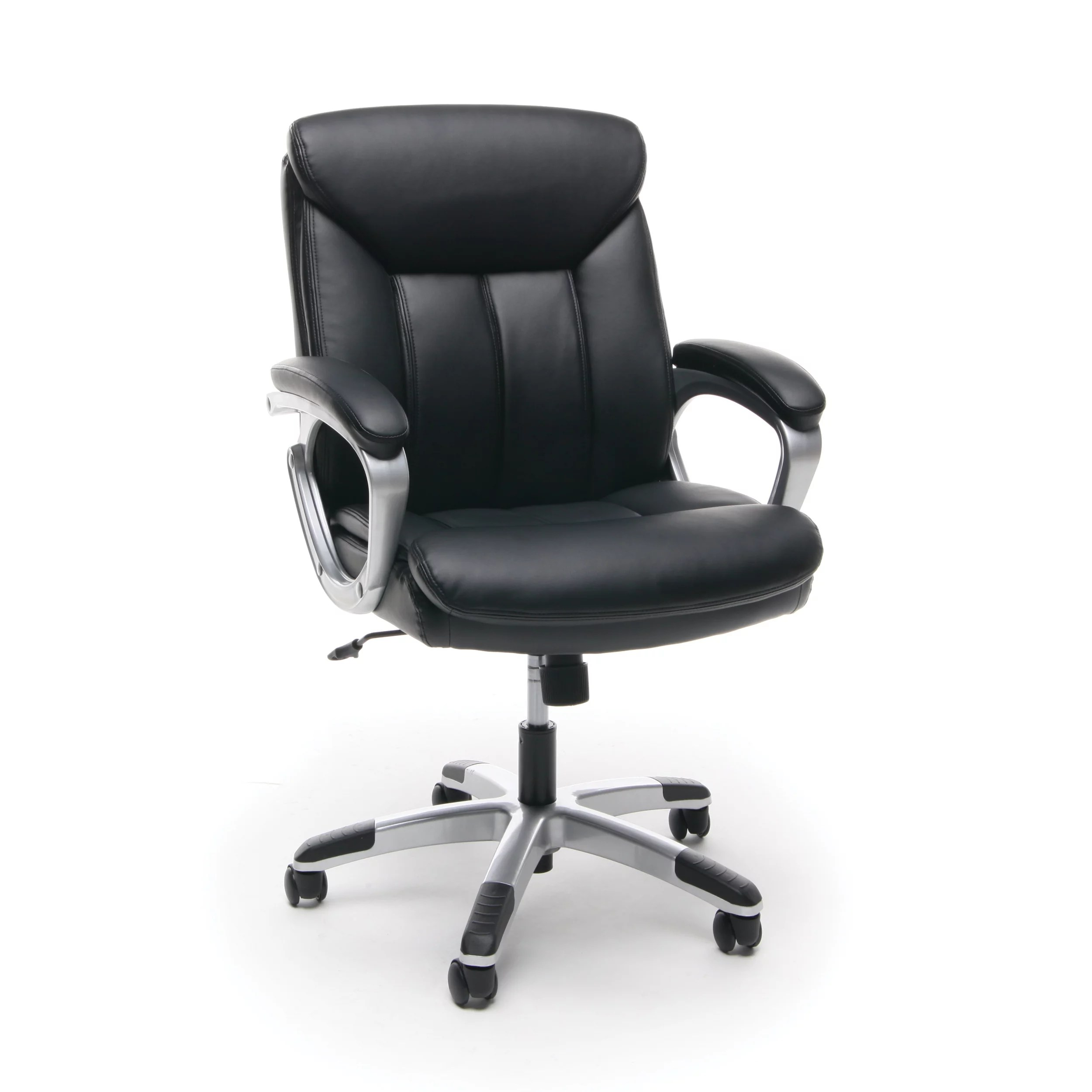 office chair leather elderly potty essentials by ofm ess 6020 executive swivel black with silver frame