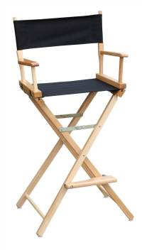 30 in. Commercial Director's Chair w Natural Frame & Black ...