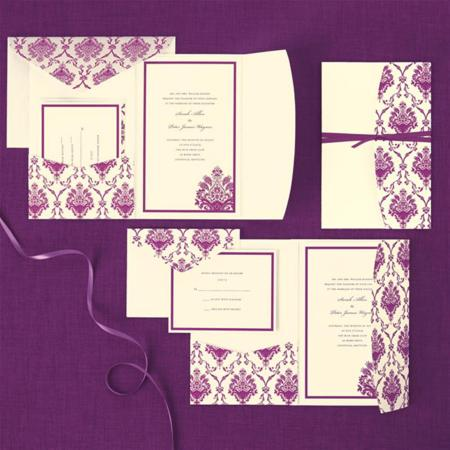 Brides Purple Ivory Pocket Wedding Invitation Kit Com